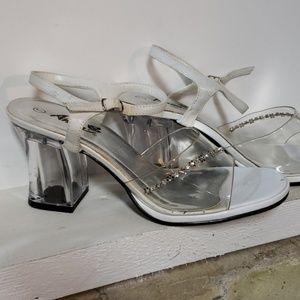 Vintage 90s Y2K Clear Lucite Heels rhinestones